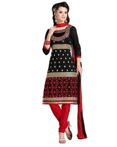 #Gorgeous #Black & #Red #Colored #Embroidered  #Dress #Material