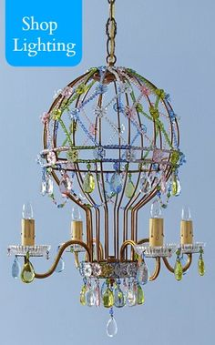 Shop Lighting at PoshTots!   Loving this Hot Air Balloon Chandelier!  #poshtots