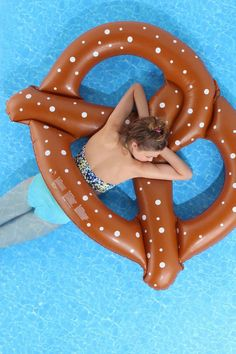 This pretzel pool float is cute as can be