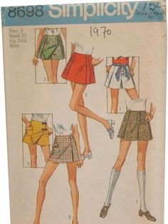 3 Scooter Skirts Simplicity 8698 vintage sewing pattern Waist 27 Hip 38 Retro mod syle mini skirt Preppy shorts skirt Mad Men era by on Etsy Skirt Patterns Sewing, Vintage Dress Patterns, Simplicity Sewing Patterns, Clothing Patterns, Pattern Sewing, Coat Patterns, Pattern Drafting, Blouse Patterns, Vintage Outfits
