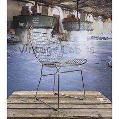 Bertoia eetkamerstoel-draadstoel met zwart kussen - Vintagelab15.com