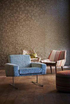 Marble wallpaper, Zambezi fabrics. Both Anthology.