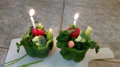 Guinea pig birthday cakes! Do NOT give them to your pigs when the candles are aflame; this was for show only.