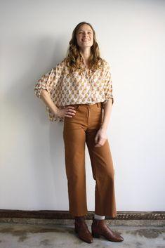 Toni Jeans - Tan | Myrtle Toni Jeans, Myrtle, High Waist Jeans, Snug Fit, Stretch Fabric, Wide Leg, Tights, Zipper, Legs