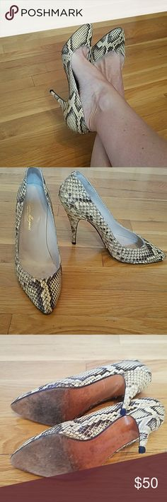 Gino Morganti Vintage Real Snakeskin Heels Vintage 4 1/2 inch real snakeskin heels great shoes to stand out in a crowd made in Spain Gino Morganti Shoes Heels