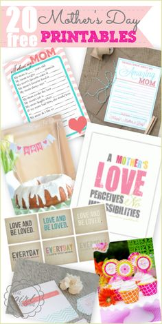 20 Free Mother's Day Printables. #mothersday
