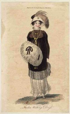 Lady's Magazine, London Walking Dress, March 1805. I love this pelisse! Check out that wide band of lace on the bottom of it! And a very 1960s looking bonnet, I think!