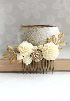 Gold Ivory Cream Bridal Hair Comb Vintage Style by apocketofposies