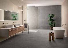 Luxstone Grey 1cm tiles make a dramatic #bathroomflooring Bathroom Cladding, Bathroom Flooring, Grey Tiles, Grey Paving, Paving Slabs, Outdoor Projects, Double Vanity, Porcelain, Stoneware