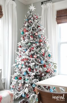 Christmas Decorating Ideas : Illustration Description a flocked tree featuring red, white, pale blue, and plaid from Inspired by Charm White Christmas Tree Decorations, Pretty Christmas Trees, Turquoise Christmas, Blue Christmas, Beautiful Christmas, Christmas Holidays, Christmas Crafts, Christmas Mantles, Holiday Tree