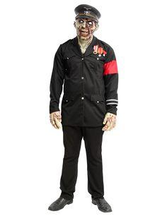 Costume da dittatore zombie per Halloween: Questo travestimento da zombie per adulto è composto da una giacca e da una maschera (mani, pantaloni e scarpe non inclusi).La giacca è tutta nera, con bottoni dorati e mostrine. Si...