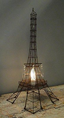 Tall Eiffel Tower Night Light wire metal lamp sculpture french paris old