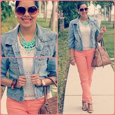 I love the idea of a plain top with the peachy pants! The teal necklace really pops! Peach Jeans, Coral Jeans, Cool Outfits, Summer Outfits, Casual Outfits, Peach Clothes, Denim Fashion, Fashion Outfits, Weekend Wear