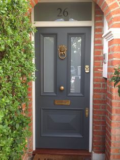 Victorian front door in Farrow & Ball's Downpipe