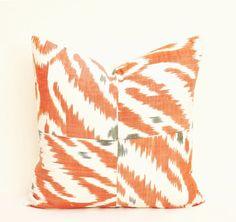 Ikat pillow cover Patchwork orange ikat 18 x 18 inch by MagicIkat