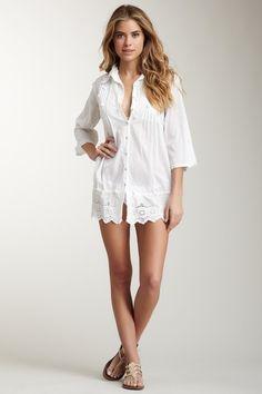 Yuka Beach Pintuck Pom Pom Shirt Tunic on HauteLook