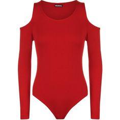 WearAll Women's Cut Off Shoulder Stretch Long Sleeve Leotard Top at... ($14) ❤…