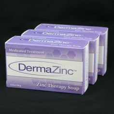 DermaZinc Zinc Therapy Soap 3.75 oz bar - 3 Pack by DermaZinc. $21.43. 3.75 oz ( 106g )  Medicated Treatment  Zinc Therapy Soap. 2% Zinc Pyrithione. associated with seborrheic dermatitis and dandruff. 3 Pack of Bar Soap. Relief of Itching, redness, irritation scaling and flaking. Other Ingredients Coconut Oil, deionized water, sodium hydroxide, olive oil, vegetable oil, glycerin, wheat germ oil, oatmeal.     Dermalogix bar soap is for skin irritation relief. Finally, a ge...