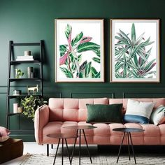 Items similar to Calathea & Rhoeo DIGITAL FILE pink and green art print palm print palm leaf print tropical print large wall art california wall art on Etsy Living Room Green, Green Rooms, Living Room Decor, Bedroom Decor, Green Bedroom Colors, Bold Living Room, Decor Room, Dark Green Walls, Green Home Decor