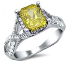 1.81ct Fancy Yellow Canary Radiant Cut Diamond Engagement Ring 18k White Gold / Front Jewelers
