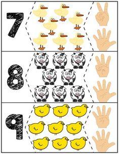 Click Clack Moo Cows That Type Number Puzzles Preschool Zoo Theme, Kindergarten Math Activities, Numbers Preschool, Toddler Learning Activities, Preschool Education, Montessori Activities, Preschool Worksheets, Preschool Activities, Disney Activities