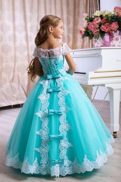 Girls turquoise dress, flower girl dresses turquoise color, flower girl dresses with turquoise, cheap turquoise flower girl dresses long dresses for girls - kids dresses Girls Pageant Dresses, Gowns For Girls, Little Girl Dresses, Flower Girl Dresses, Dress Girl, Princess Dresses For Girls, Flower Girls, Disney Dresses For Girls, Flower Girl Tutu