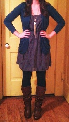 How to wear a dress during the winter without totally freezing. Cute fall fashion. Cute boots. <3