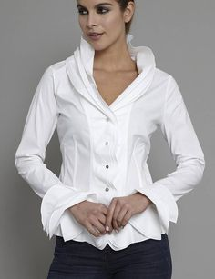 Ruffles. isabella white shirt by the shirt company | notonthehighstreet.com