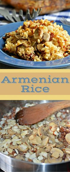 Armenian rice has bacon, almonds, rice, sauteed onions, and the flavors go perfectly together! Rice Recipes, Great Recipes, Cooking Recipes, Favorite Recipes, Rice Dishes, Food Dishes, Armenian Recipes, Armenian Food, Good Food