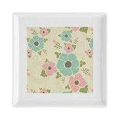 "Nostalgic flowers Square Cocktail Plate Beige seamless vintage pattern ""Nostalgic flowers""  $12.99"