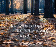 Idź swoją drogą, a inni niech mówią, co chcą. Krótko i dosadnie ; Magic Day, Words Quotes, Wisdom, Motivation, Feelings, Fall, Life, Lyrics, Quote