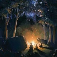 Campfire Memories Fragrance Oil for Candles, Soap, and Cosmetics The perfect blend of fresh forest air with a touch of crackling campfire. Light campfire base n Anime Scenery, Oeuvre D'art, Digital Illustration, Amazing Art, Awesome, Fantasy Art, Cool Art, Concept Art, Animation