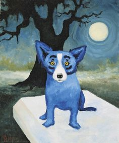"""blue dog? New Orleans artist George Rodrigue's (b 1944) """"Honey Moon Glow"""" achieved $34,075, two other paintings by the artist also sold well."""