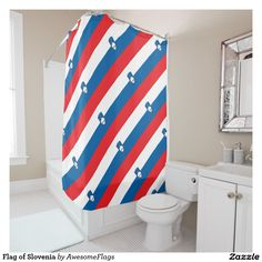 Flag of Slovenia Shower Curtain