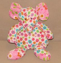 """Mary Meyer Pizzazz White Pink Flowered Elephant Floral Plush Stuffed Toy 12"""" #MaryMeyer"""