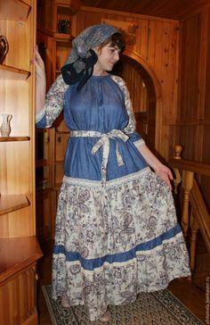 """Купить Платье в народном стиле """"Хозяюшка"""" - комбинированный, цветочный, народный стиль, платье, льняное платье"""