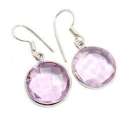 Silvesto India Faceted Round Shaped Rose Quartz Gemstone Bezel Setting Sterling Silver Dangle Earrings Silvesto India http://www.amazon.in/dp/B0117BSU6G/ref=cm_sw_r_pi_dp_dEnfwb0Q27W9T