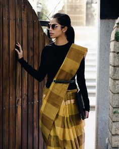 20 Ways to Style Your Sarees with Full Sleeves Blouse Saree Wearing Styles, Saree Styles, Trendy Sarees, Stylish Sarees, Saris, Saree With Belt, Plain Saree With Heavy Blouse, Indian Fashion Trends, Fashion Hub