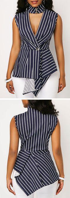 Asymmetric Hem Stripe Print Chocker Neck Blouse, M, Asymmetric Hem Stripe Print Chocker Neck Blouse, , Price: Stylish Tops For Girls, Trendy Tops For Women, Blouses For Women, Blouse Styles, Blouse Designs, Chocker, Ladies Dress Design, Stripe Print, Printed Blouse