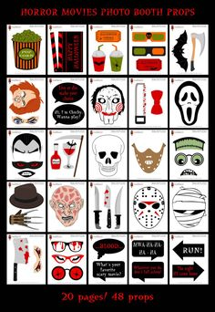 Horror Movies Photo Booth Props49 Pieces 40 by HappyFiestaDesign
