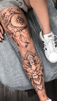 Front Thigh Tattoos, Full Leg Tattoos, Girl Thigh Tattoos, Mom Tattoos, Sexy Tattoos, Body Art Tattoos, Back Of Thigh Tattoo, Flower Thigh Tattoos, Forarm Tattoos