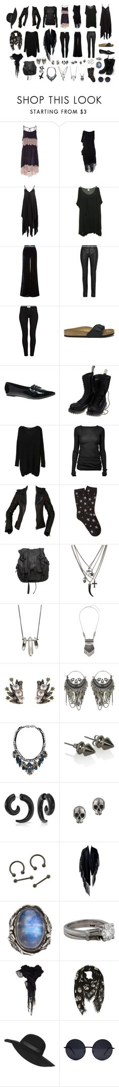 """""""capsule wardrobe one"""" by beehivebespoke ❤ liked on Polyvore featuring Religion Clothing, Emilio Pucci, Helmut Lang, Paige Denim, Birkenstock, ASOS, Vegetarian Shoes, Rick Owens, Balenciaga and Forever 21"""