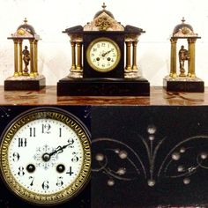 garniture empire trois pièces comportant dôme, personnages antique . XIX siècle