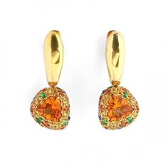 Earrings «Riviera», in gold with citrine and sapphire by Mousson Atelier