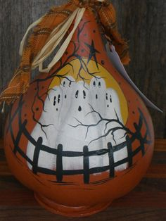 Halloween GHOSTS Vintage Style dried gourd Hand by TheRootCellar