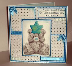 A card I made for my Godson using the Docrafts Digital Designer xx Craft Cards, 3d Cards, Card Making Inspiration, Making Ideas, Forever Friends Cards, Christening Card, Digital Designer, 1st Birthday Cards, Bear Card