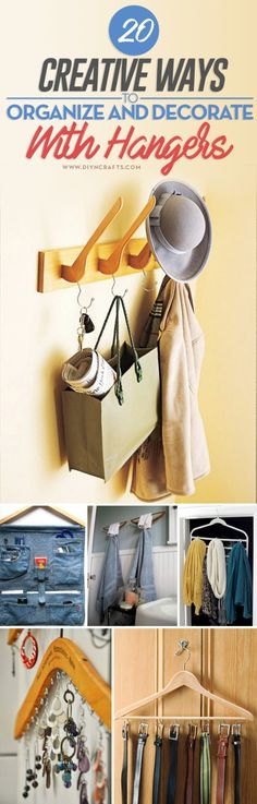 20 Creative Ways to #Organize and #Decorate with Hangers - If you are looking for fun and creative ways to decorate and you have a lot of hangers just lying around, there are many crafts that you can do with those hangers. Using hangers for decorating is great because they offer organization as well as decoration. via @vanessacrafting