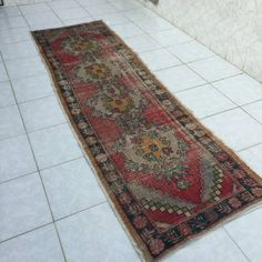 Turkish wool vintage carpet, faded runner,oushak rug-floor rug,handmade rugs,bohemian rug,area rug,rug turkish anatolia,distressed rugs by Simavrug on Etsy
