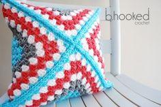 Retro Granny Square Pillow: Video Crochet-Along | B.hooked Crochet....great colors!