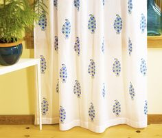 Exclusively Block printed Indian Handmade Bohemian Blue Sheer Curtain